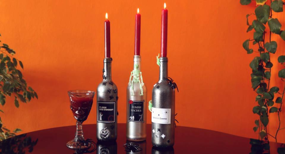 Flaschen Kerzenhalter Als Schaurige Halloween Deko Basteln Anleitung